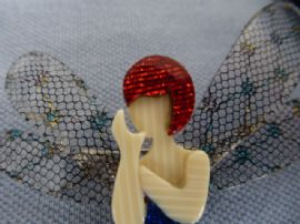 Lea Stein of Paris Brooch - Fairy with Dragonfly Wings and Red Hair (Sold)